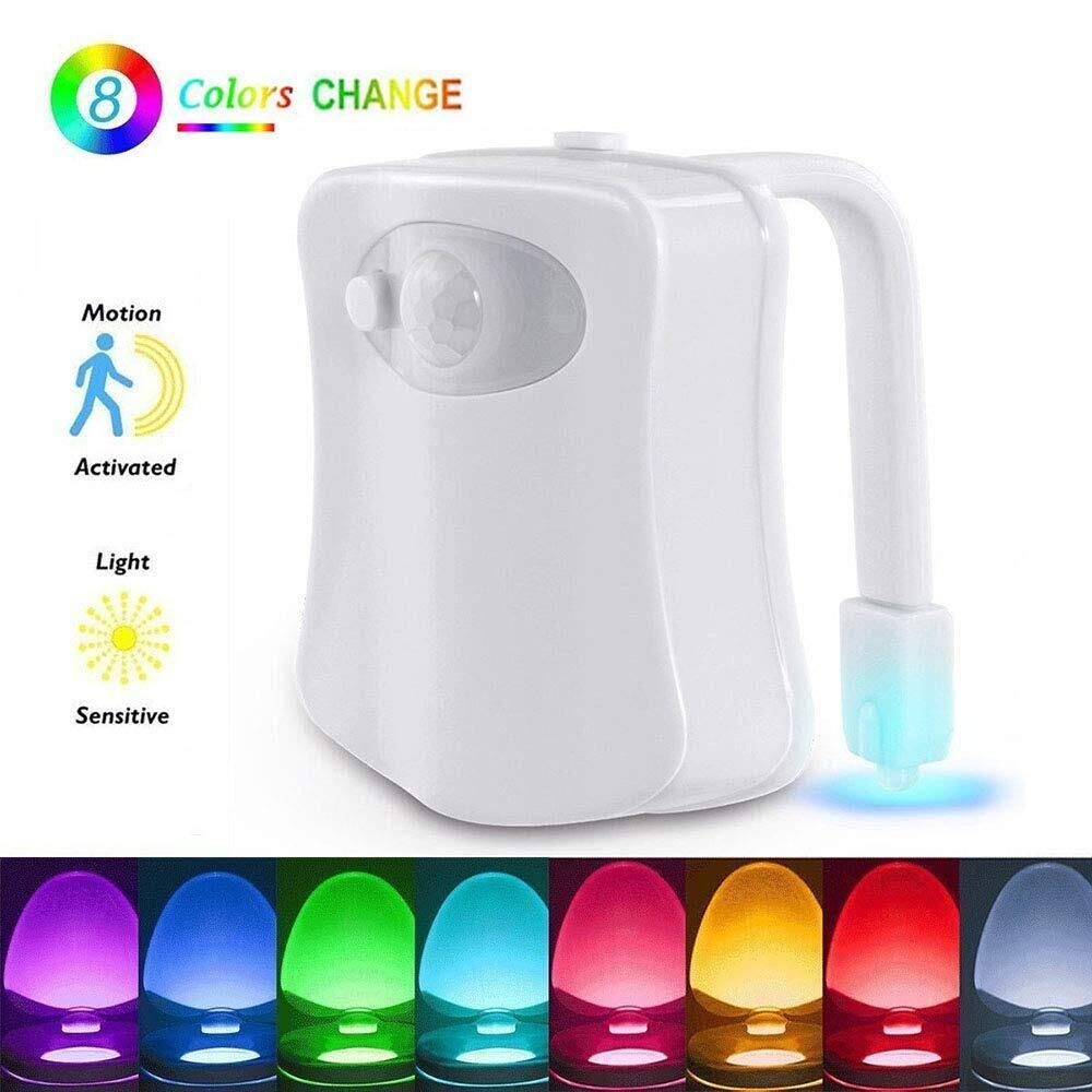 Motion Sensor LED Toilet Nightlight, Sporthomer Auto Body Motion Activated Seat Lights Inside Toilet Bowl, 8-Color Changing Waterproof Tolit Light Night Lamp for Bathroom (Only Activates in Darkness)