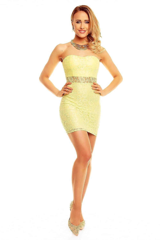 Miniikleid Bandeau Abendkleid Spitze Party kleid XS S M L Gelb: Amazon.de:  Bekleidung