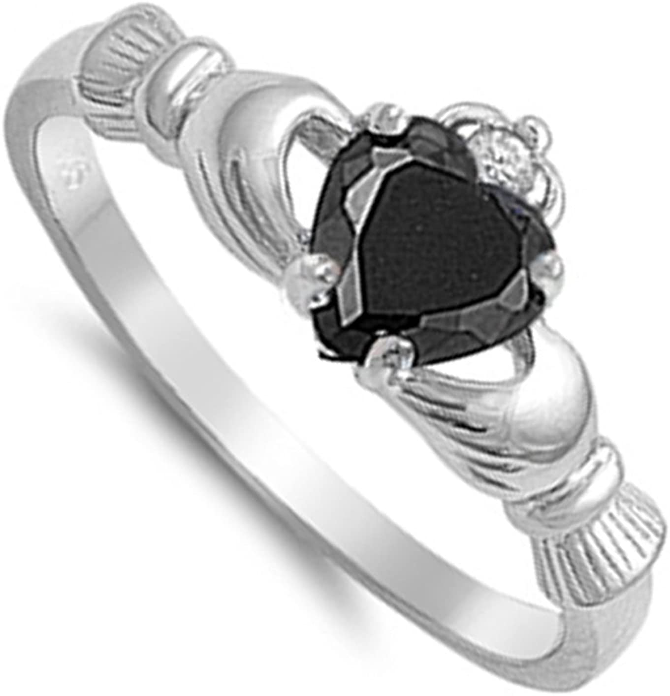 Choose Your Color Sterling Silver Claddagh Heart Promise Ring
