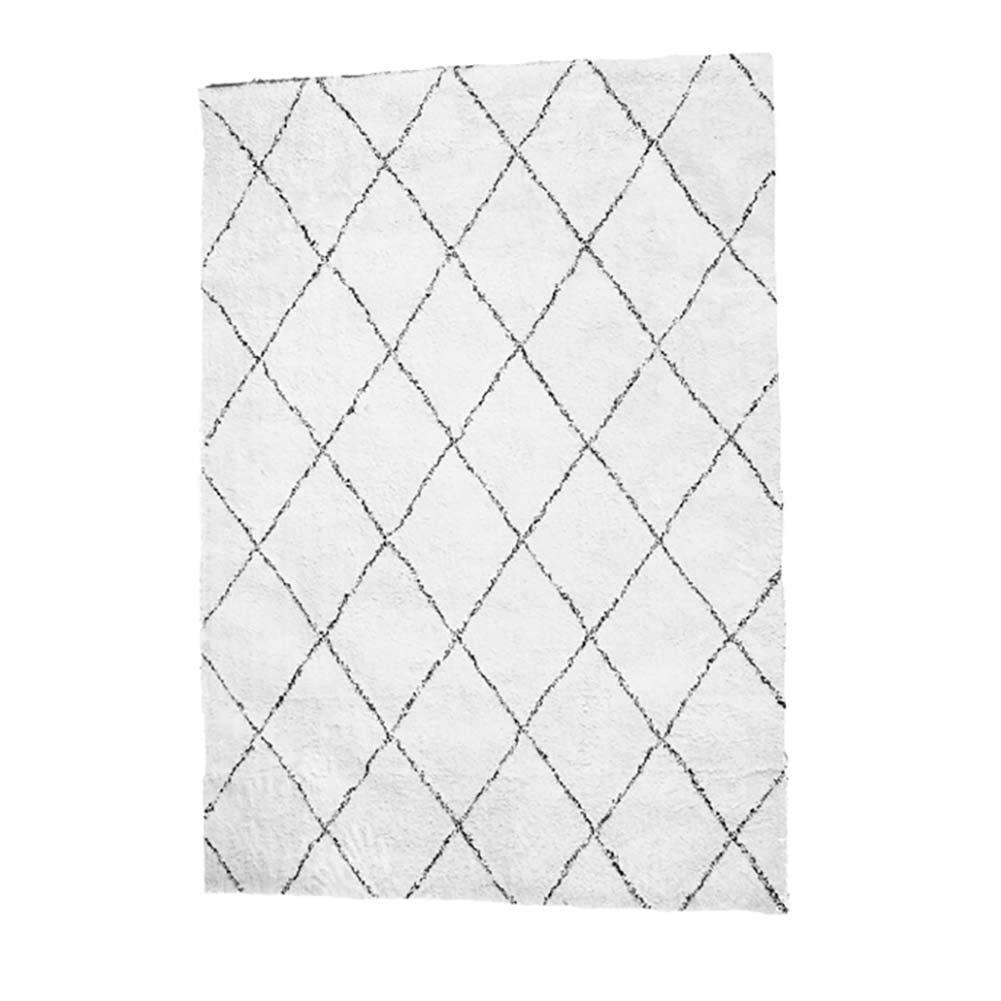 Decoration Teppich Geometrische Diamant Spleiß Plaidentwurf Teppich 2 cm plüsch Handgemachtes Weben Beige Schwarze Streifen Für Wohnzimmer, Schlafzimmer, Wohnbereich Multi-Größe 120 × 160 cm