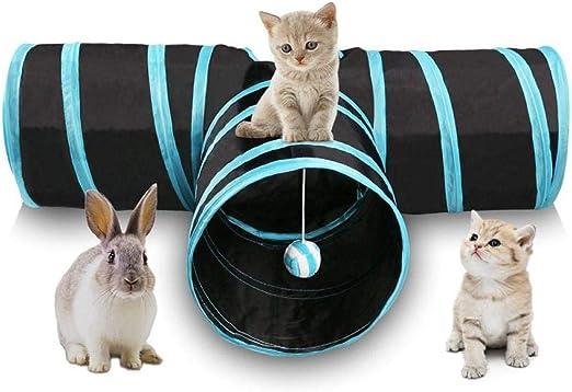Túneles Para Gatos Artículos Para Gatos Tubos Y Túneles Para Animales Pequeños Túnel Para Gatos Túnel Plegable Para Jugar Con Mascotas De 3 Vías Túnel Con Bola Que Suena Tubo Espacioso Diver:
