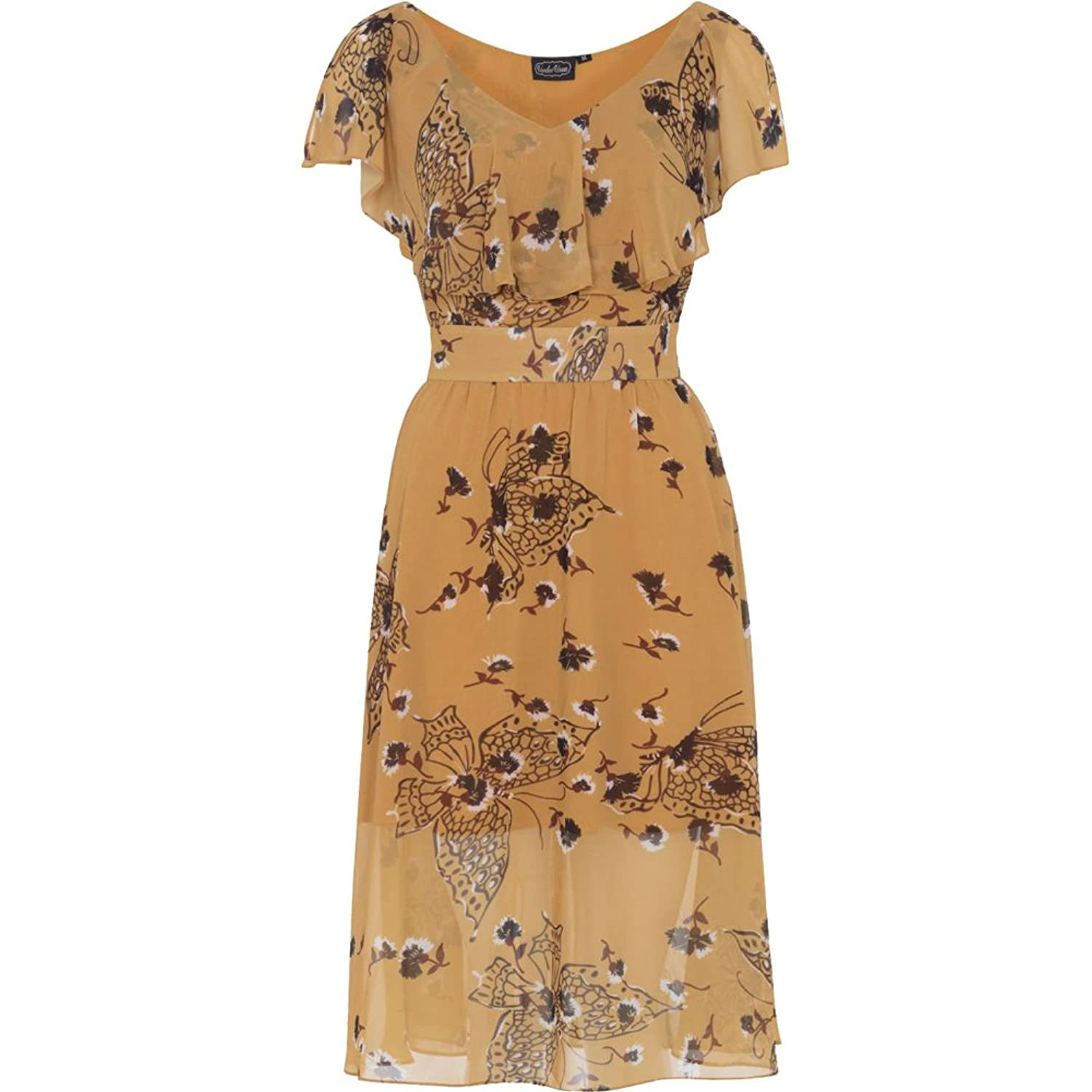 Pin Up Dresses | Pin Up Clothing Voodoo Vixen Posy Butterfly Dress Yellow $72.99 AT vintagedancer.com
