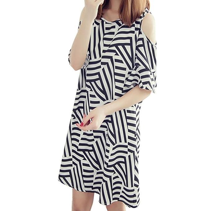 WILLTOO ✿ Women's Summer Off Shoulder Striped Ruffle Sleeves Dress Above Knee Dress