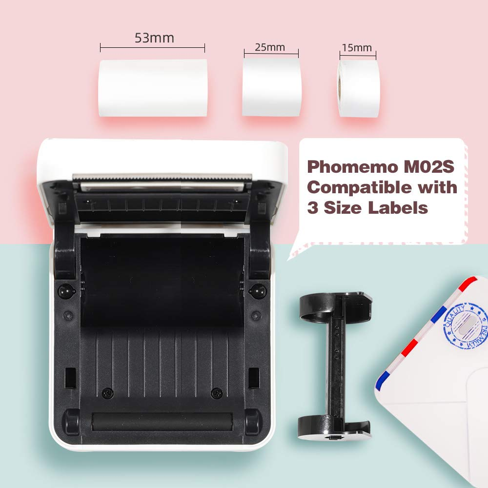 Total Three Rolls Phomemo Printable Sticker Paper Direct Thermal Paper Self-Adhesive Black Character on Purple//Rose Red//Orange Bottom 50mm x 3.5m for Phomemo M02//M02S Pocket Printer