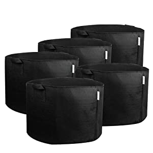 MELONFARM 5-Pack 15 Gallon Plant Grow Bags - Smart Thickened Non-Woven Aeration Fabric Pots Container with Strap Handles - Reinforced Weight Capacity Extremely Durable