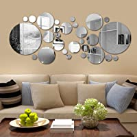 Mirror Wall Sticker 26 pcs DIY Reflective Removable Adhesive Acrylic Wall Sticker Decal Circle DIY Wall Stickers Wall…