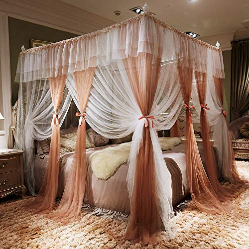 JQWUPUP Color Gradient Bed Canopy Curtains, Ruffle Princess 4 Corner Post Mosquito Net, Romantic Bed Canopy for Girls Kids Toddlers Crib, Bedding Décor (Twin XL, Reddish Brown)