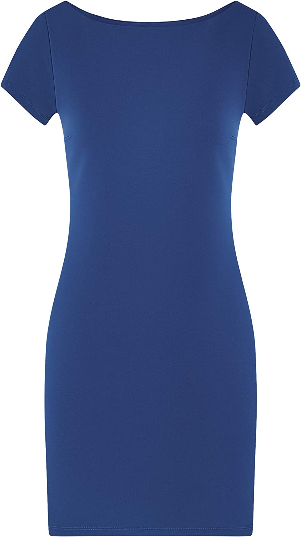oodji Ultra Damen Tailliertes Kleid mit Kurzen /Ärmeln