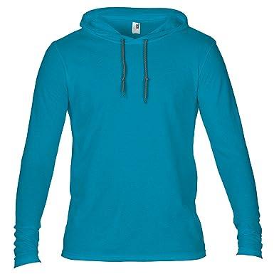 f634c3712 Anvil Mens Fashion Plain Long Sleeve Hooded T-Shirt: Amazon.co.uk: Clothing