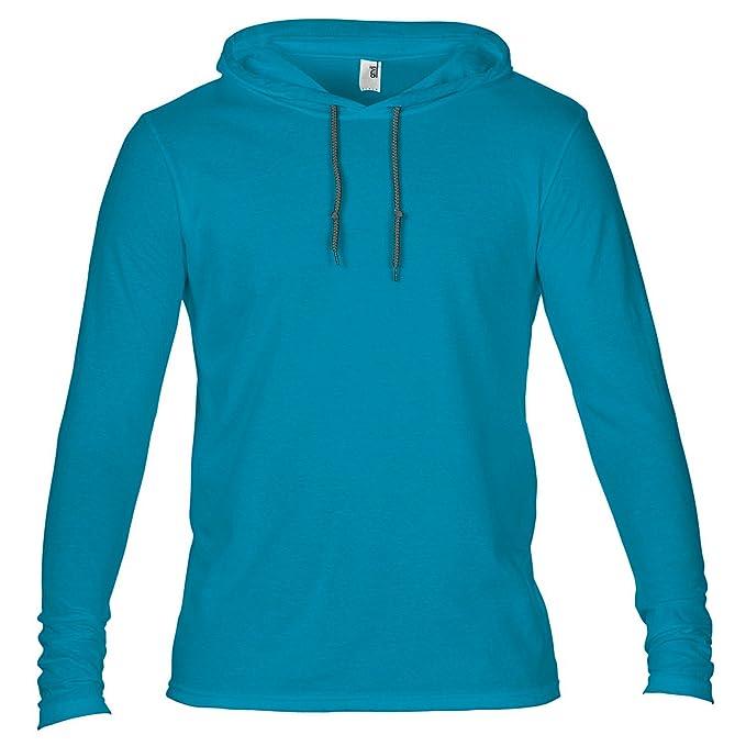 d2ff655afaf Anvil Mens Fashion Plain Long Sleeve Hooded T-Shirt  Amazon.co.uk  Clothing