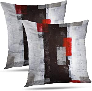 Alricc Red and Grey Abstract Art Pillow Cover, Modern Black White Wall Decorative Throw Pillows Cushion Cover for Bedroom Sofa Living Room 18X18 Inches Set of 2