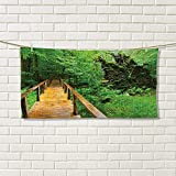Chaneyhouse Forest modern hand towels Wood Trail in Fresh Forest Jungle after the Rain Tropical Environment Eco Adventurevalentines Brown Green