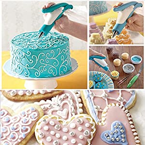 SCStyle Cake Decorating Pen Tool Kit Pastry Bag DIY Cake Deco Tools Kit Pastry Icing Pen Piping Kit Bags(Blue)