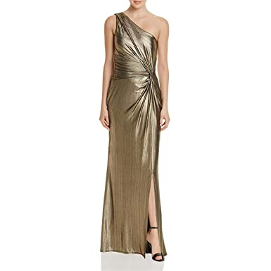 Laundry by Shelli Segal Women s One Shoulder Metallic Gown with Waist  Twist baac38abd5