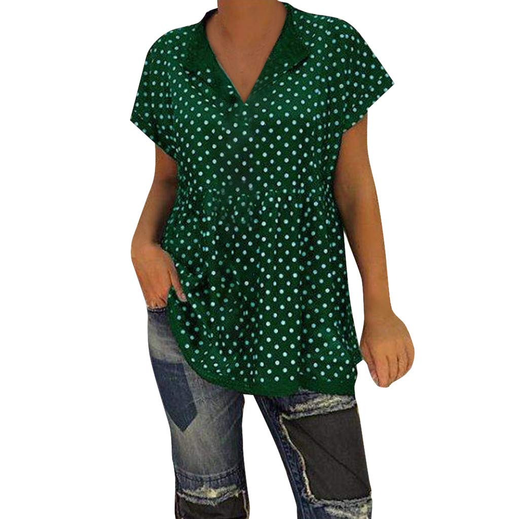 2019 New Womens Spot Printing Blouse, Casual V-Neck Short Sleeve Dot-Intarsia Printing Shirts Soild Summers Top Vest Blouse (Green, S)