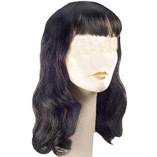 1940s Hair Accessories- Flowers, Snoods, Clips, Wigs, Bandannas Deluxe 40s Page Boy Color Dark Brown - Lacey Wigs Womens Bettie Hollywood Forties Movie Star Pageboy Bundle Costume Wig Care Guide $28.63 AT vintagedancer.com
