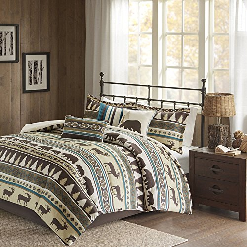 MS 7pc Teal Blue White Brown Deer Pattern Comforter Cal King California Set, Polyester, Hunting Bedding Bear Themed Cabin Lodge Elk Southwest Warm Cozy Overfilled Animal Montana Trees Butte by MS