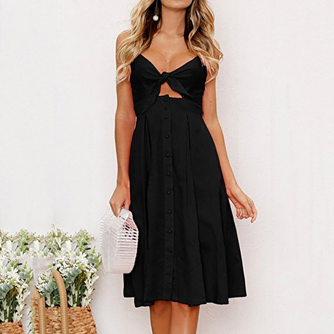 8ccf3bbe0a2 Aurorax Summer Dress Women s Sexy Deep V Neck Backless Split Maxi Party  Dress Bowknot Lace up Dress for Beach Holiday at Amazon Women s Clothing  store