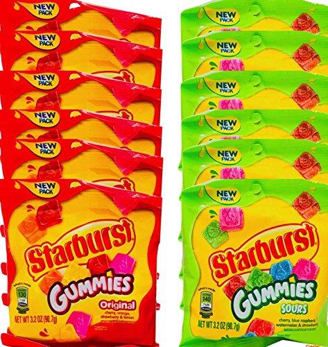 NEW Starburst Gummies Original/Sour Theater Snack Sized Candies Net Wt 3Oz (12) ()