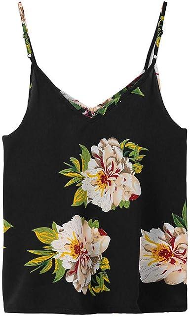 Women Summer T-Shirt Print V-Neck Sleeveless Straps Vest Shirt Tank Tops Blouse
