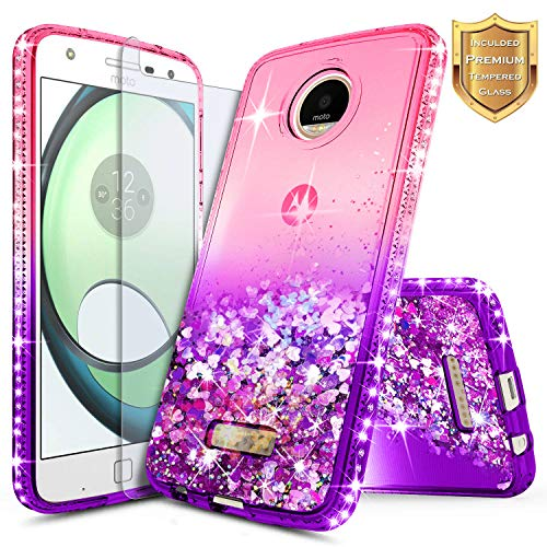 Moto Z Force Case with [Tempered Glass Screen Protector], NageBee Quicksand Liquid Floating Shiny Glitter Flowing Bling Diamond Case for Motorola Moto Z Force Droid XT1650 (2016) - Pink/Purple