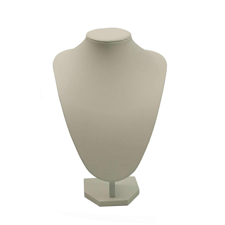Gro/ß Wei/ß Kunstleder Halsketten Display B/üste 29cm hoch G211WL