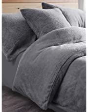Duvet Cover with Pillowcases New Soft Warm Fleece Bedding Set (Teddy Silver, Double Duvet Cover Set)