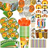 Safari Animal Party 16 Guest - Great for Jungle or Zoo Themed Birthday - Plates, Cups, Napkins, Tablecloth, Balloons, Masks, Tattoos, Loot Bags, Candles, Blowouts, Cutlery - Spoons, forks, Knives