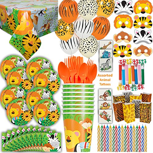 - Safari Animal Party 8 Guest - Great for Jungle or Zoo Themed Birthday - Plates, Cups, Napkins, Tablecloth, Balloons, Masks, Tattoos, Loot Bags, Candles, Blowouts, Cutlery - Spoons, forks, Knives