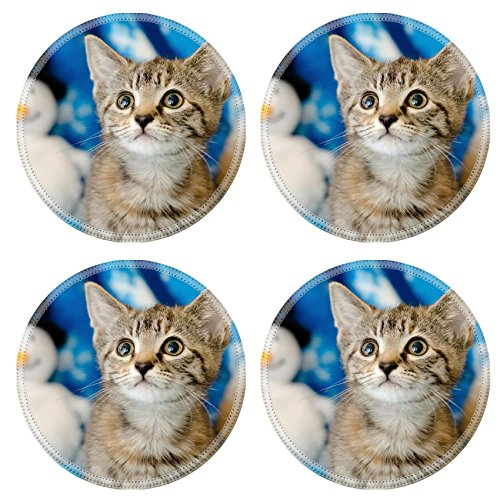 Liili Round Coasters Non-Slip Natural Rubber Desk Pads IMAGE ID: 26783402 tabby kitten on snowflake background looking up with snowman