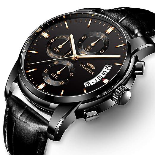 Kashidun - Reloj de pulsera para hombre, de cuarzo, resistente al agua, con cronógrafo, calendario, fecha, correa de acero inoxidable, color negro: ...