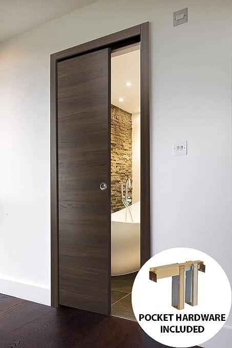 Merveilleux Pocket Door 28 X 80 Inches With Hardware Frames Set | Planum 0010 Chocolate  Ash |