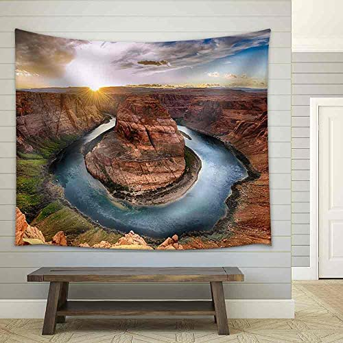 wall26 – Sunset Moment at Horseshoe Bend, Colorado River, Grand Canyon National Park, Arizona USA – Fabric Wall Tapestry Home Decor – 68×80 inches