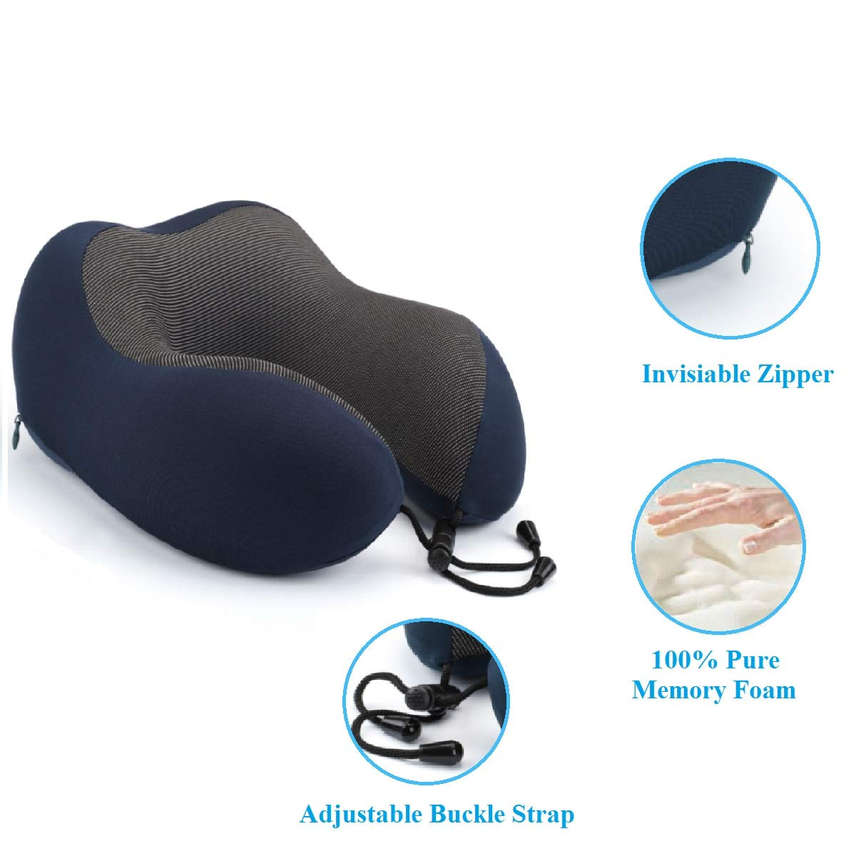Keenstone Travel Pillow, Memory Foam Travel Pillows for Airplanes, Comfortable Kids Travel Neck Pillow, 3D Sleep Mask, Earplugs, Luxury Bag, Portable Neck Support for Airplane/Car/Office, Dark Blue