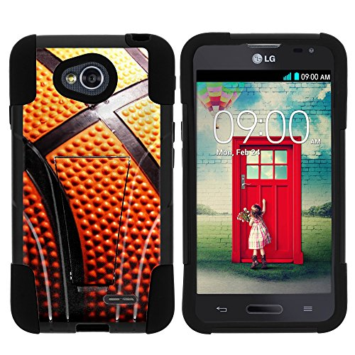 (MINITURTLE Case Compatible w/ LG Ultimate 2 Phone Case, Durable Hybrid STRIKE Impact Stand Case w/ Art Pattern Designs for LG Optimus L70 MS323, LG Optimus Exceed 2 VS450PP, LG Realm LS620, LG Ultimate 2 L41C (Metro PCS, Verizon, Boost Mobile) Close Up Basketball)