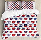Ambesonne Tea Party Duvet Cover Set King Size, Great Britain Themed Teacup Forms Patterned Union Jack Hearts Flags, Decorative 3 Piece Bedding Set with 2 Pillow Shams, Vermilion Night Blue