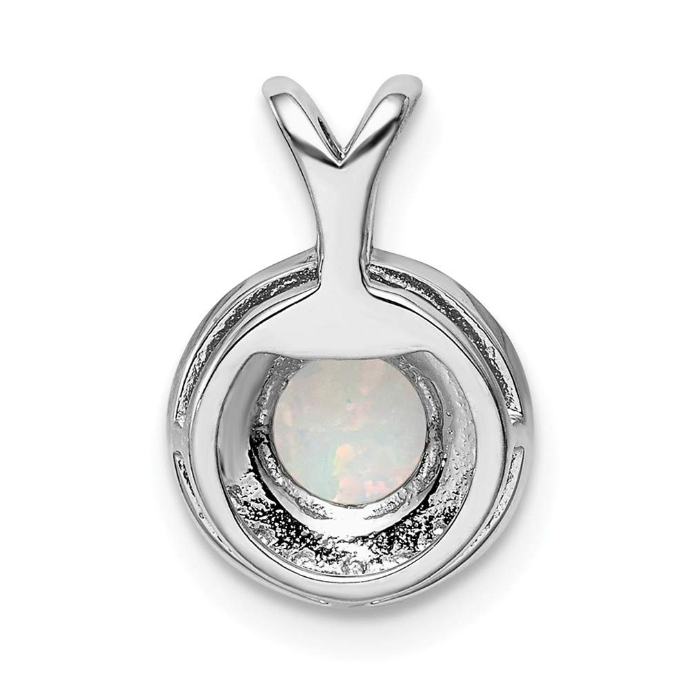 Sterling Silver Diamond and Created Opal October Birthstone Charm Pendant
