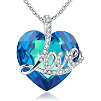 Angelady Blue Love Heart Pendant Necklace of Swarovski Crystal Engraved Love,Birthday Gifts for Her