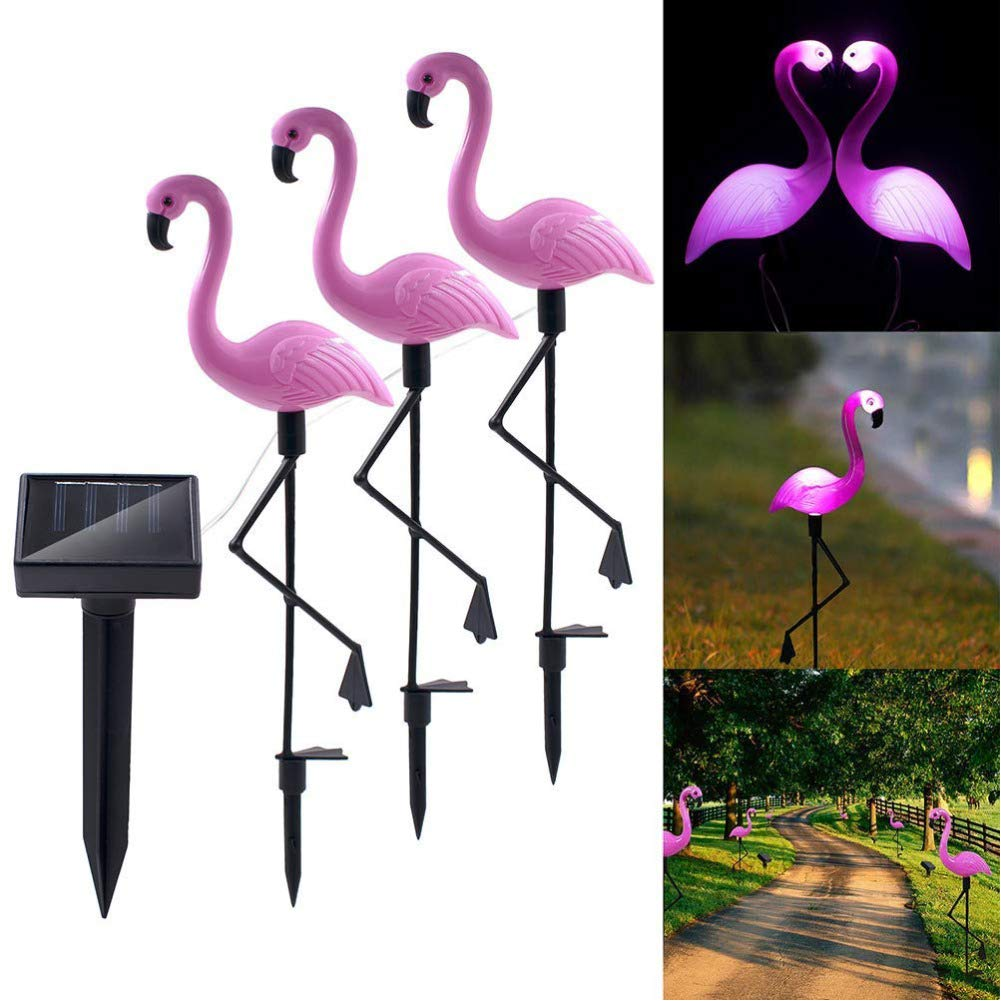 3Pack Solar Flamingo Stake Ground Light Lantern Solar Powered Pathway Lights Outdoor Waterproof Garden Decorative Lawn Yard Lamp