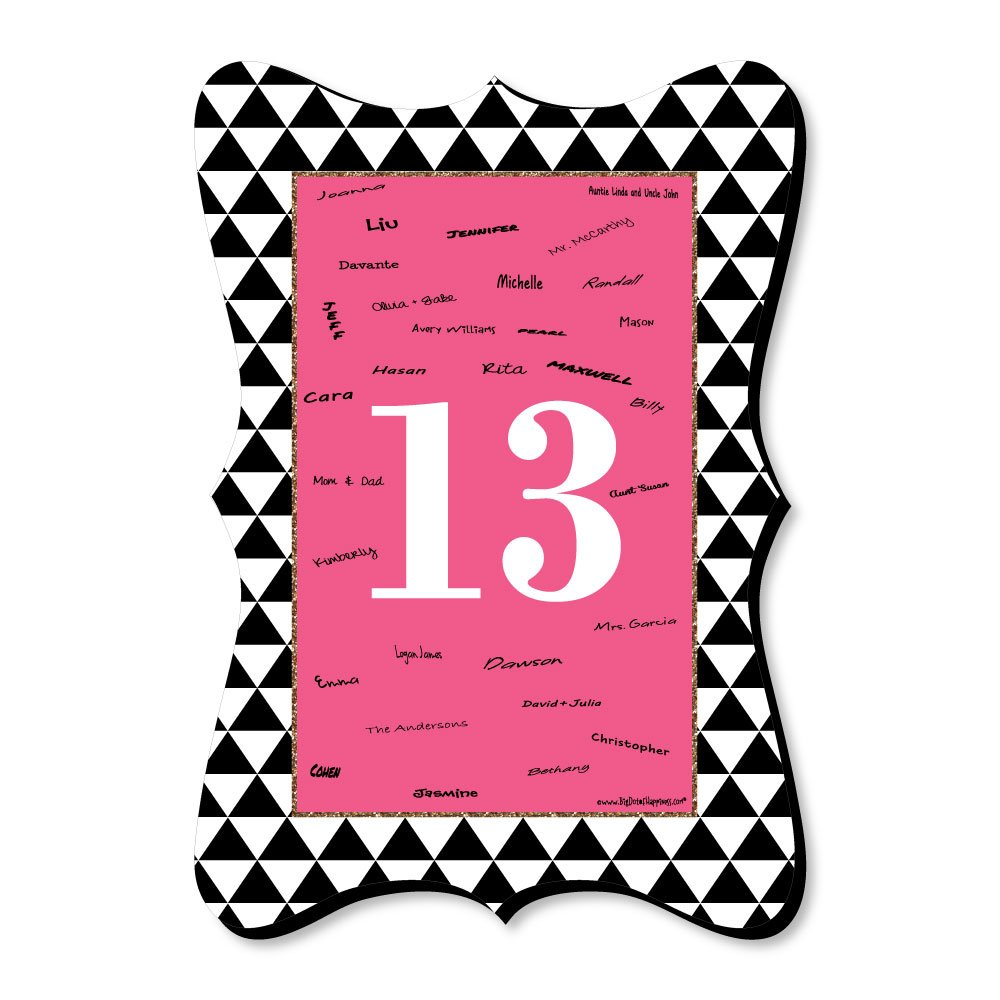 Big Dot of Happiness Chic 13th Birthday - Pink, Black and Gold - Unique Alternative Guest Book - Birthday Party Signature Mat