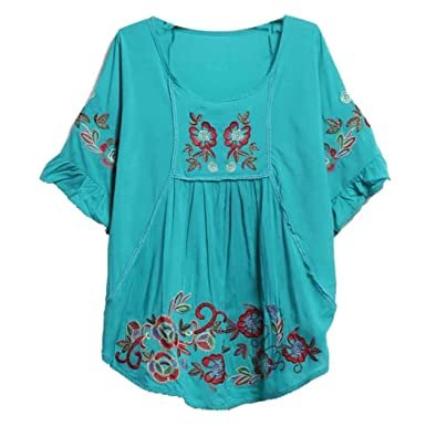 68fb396a1e3 Kafeimali Women s Tops Batwing Floral Embroidered Loose Peasant Butterfly Mexican  Blouse (Green)