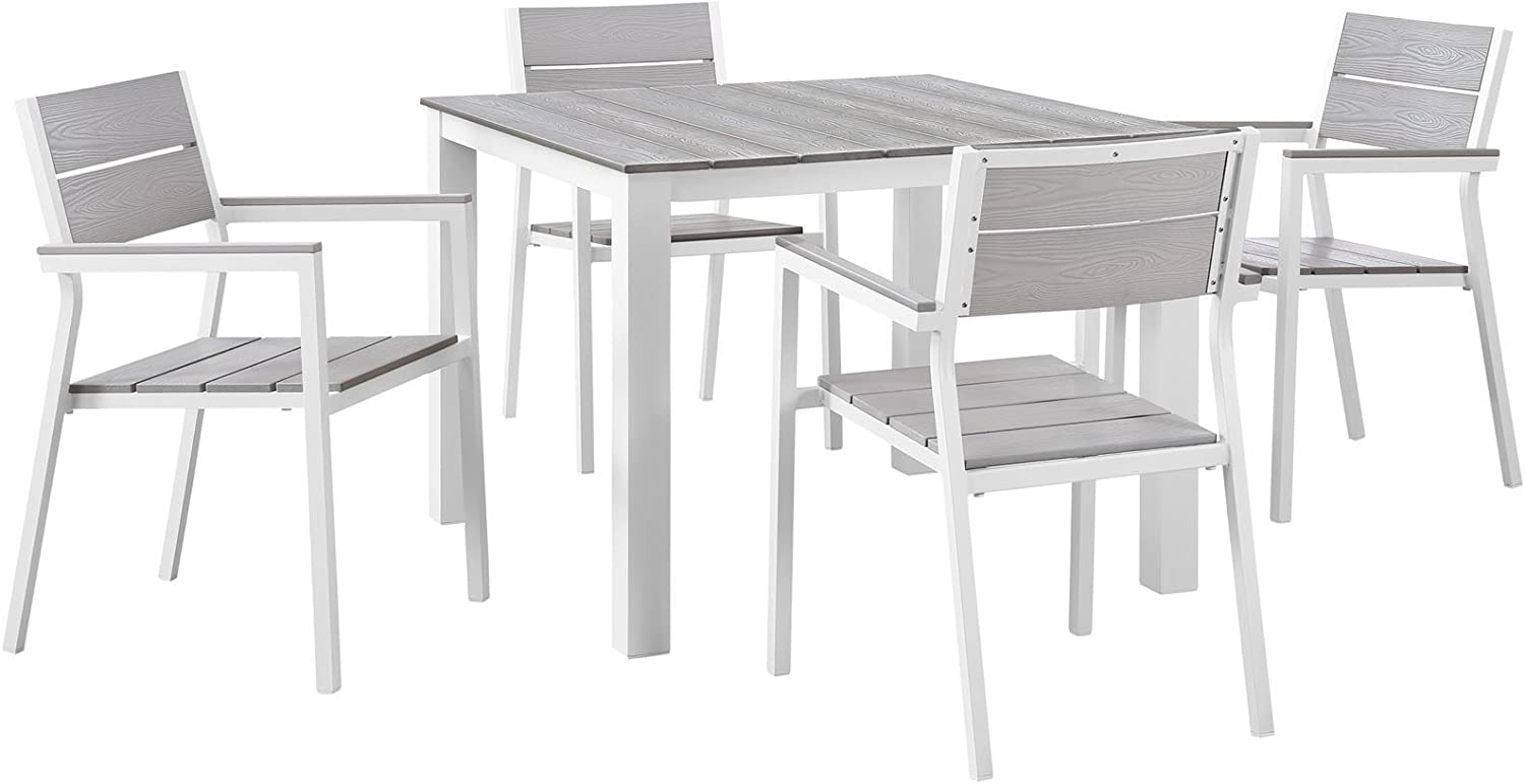 Modway Maine Aluminum 5-Piece Outdoor Patio Dining Set with 39
