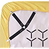Korlon 4 Pcs Bed Sheet Fasteners Sheet Holders Garters Adjustable Sheet  Straps Triangle Fitted Sheet Straps