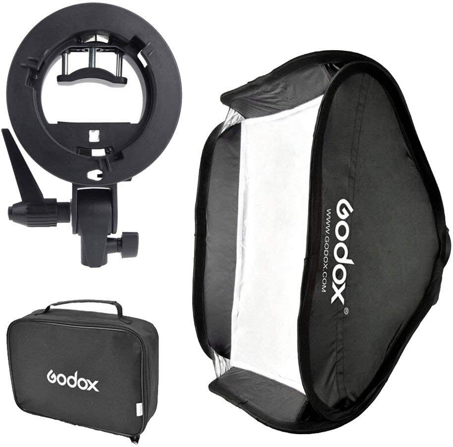 Godox S-Type Bracket Holder Bowens Mount with 32x32 Inch / 80x80cm Softbox & Carrying Bag for Speedlite Flash Studio Light