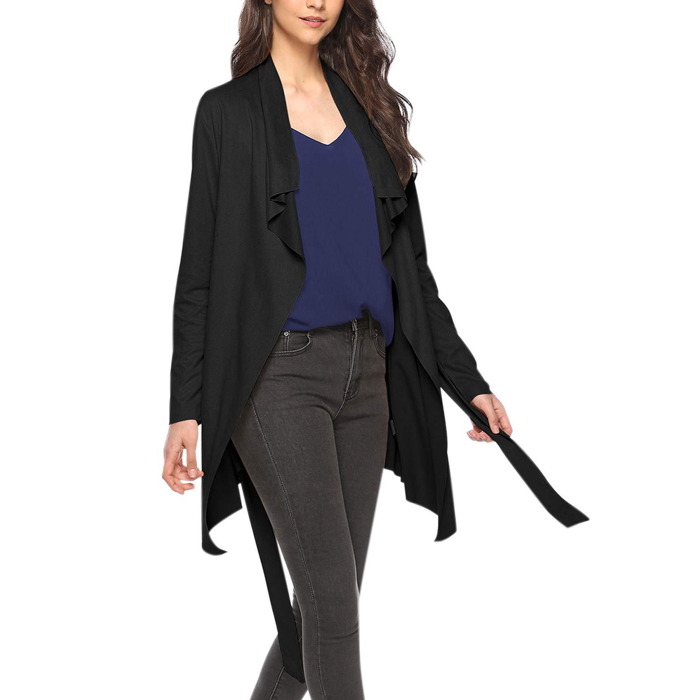 StarTreene Women Kimono Cardigan Loose Trench Coat Waterfall Outwear Irregular Black S