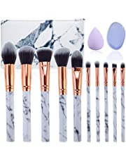 Makeup Brushes set Gee-rgeous 10 Pieces Professional Marble Makeup Brushes Set Cosmetic Foundation Brush Powder Brush Eyeshadow Brush with Makeup Sponge Emulsion and Marbled Leather Bag