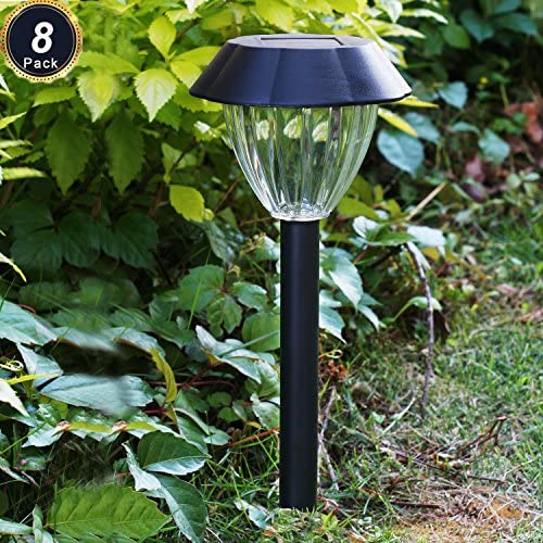 Solar Driveway Lights Outdoor – 8 Pack Black Garden Pathway Lights Landscape Lighting Waterproof Warm White Lights for Patio Pathway Driveway Lawn Garden Decor Lights Black