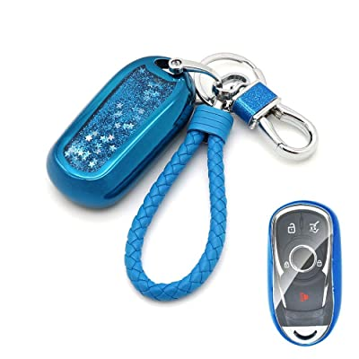 Senauto Quicksand Full Cover Key Fob Cover Case Key Chain for Buick Encore Envision Lacrosse Regal 2020 2020 2020 (Blue): Automotive [5Bkhe0102541]