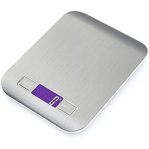 GPISEN Smart Digital Báscula con Pantalla LCD para Cocina de Acero Inoxidable, 5kg/11lbs, Balanza de Alimentos Multifuncional,Color Plata,(2 Baterías Incluidas)