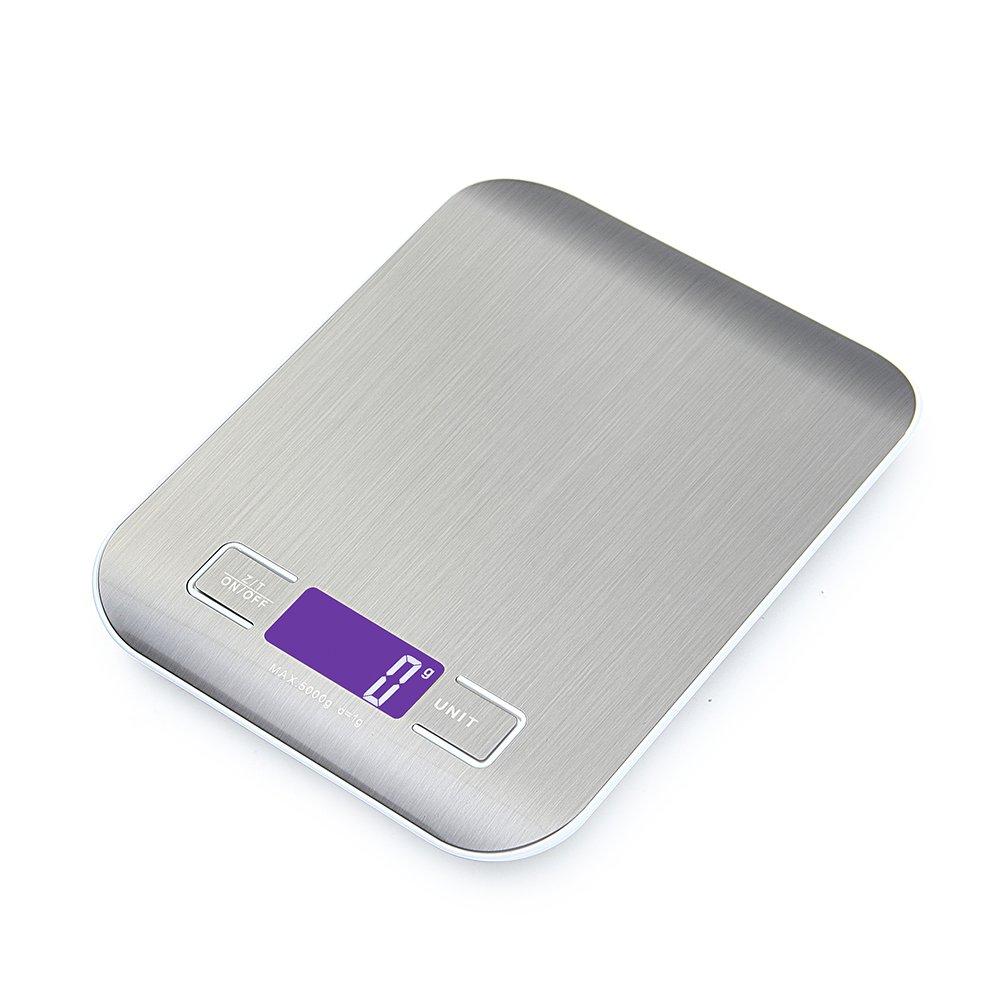 GPISEN Smart Digital Báscula con Pantalla LCD para Cocina de Acero Inoxidable, 5kg/11lbs, Balanza de Alimentos Multifuncional,Color Plata,(2 Baterías Incluidas) product image